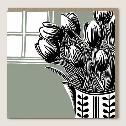 Tulips Lino Cut Card - insideout-home