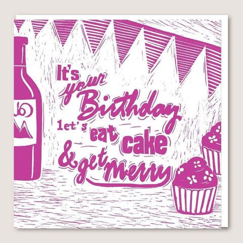 ACUW08 Eat Cake And Get Merry Card - insideout-home