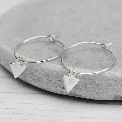 Sterling Silver Arrow Charm Hoops - insideout-home