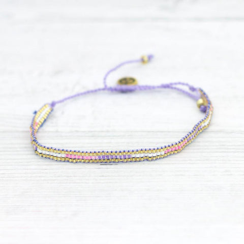 Seed Bead Patterned Bracelet Lilac - insideout-home