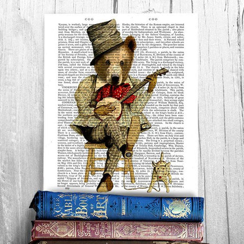 Banjo Bear Mounted Print - insideout-home