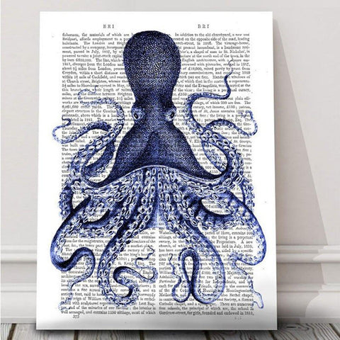 Blue Octopus Mounted Print - insideout-home