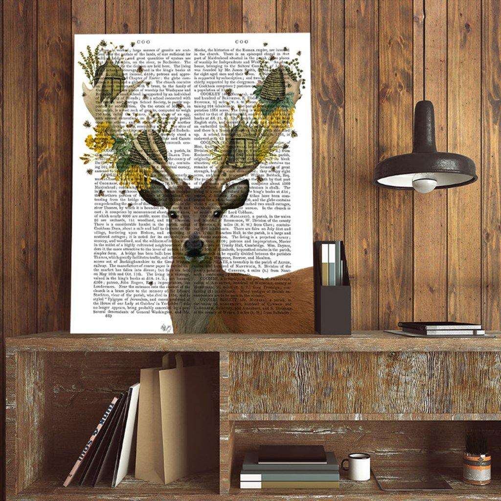 Deer And Beehives Mounted Print by  Insideout