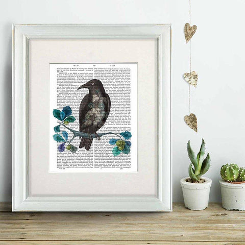 Floral Crow On Branch Print - insideout-home
