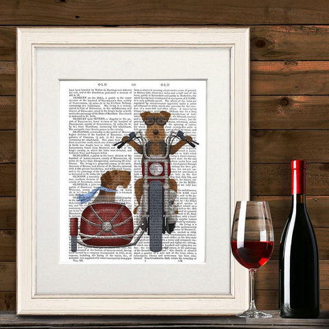 Airedale Chopper And Sidecar Mounted Print - insideout-home