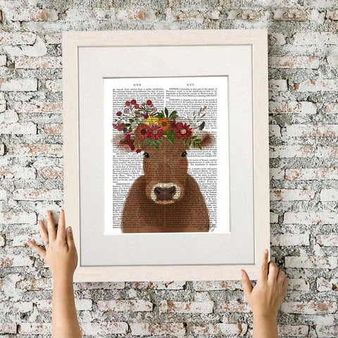 Cow Bohemian Mounted Print - insideout-home
