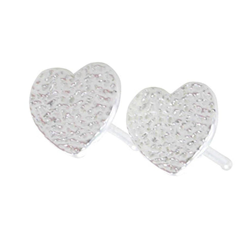 Sterling Silver Textured Heart Stud Earrings - insideout-home