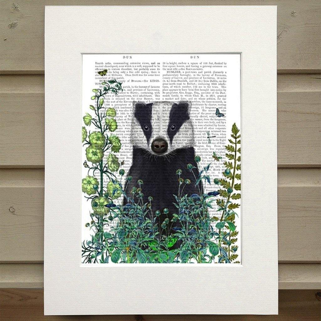 Badger In The Garden Print by  Insideout