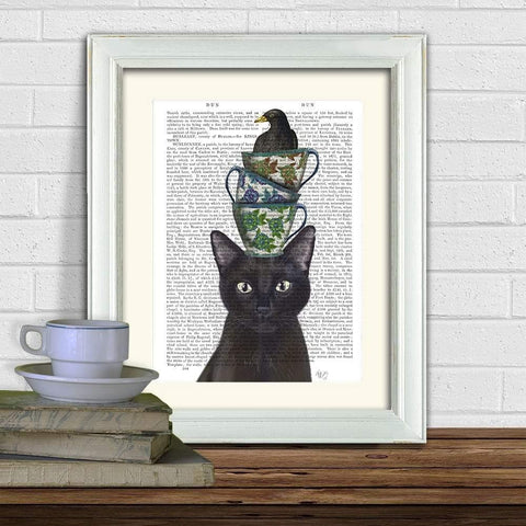 Black Cat With Teacups And Blackbird Print - insideout-home