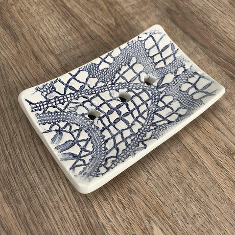 Rectangular Soap Dish - Blue Patterned - insideout-home