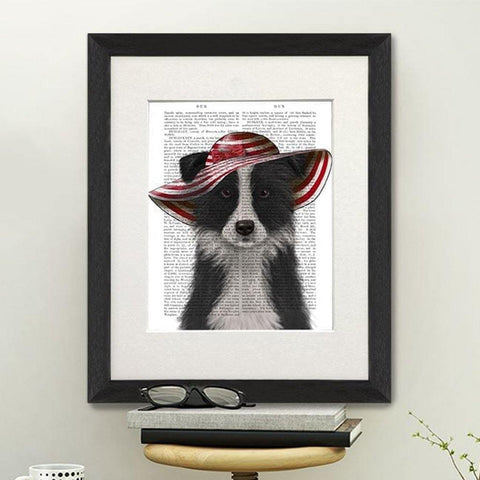 Border Collie With Floppy Hat Print - insideout-home
