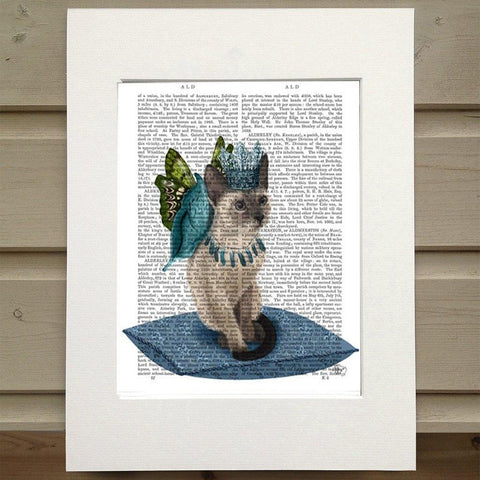 Cat With Blue Wings Print - insideout-home