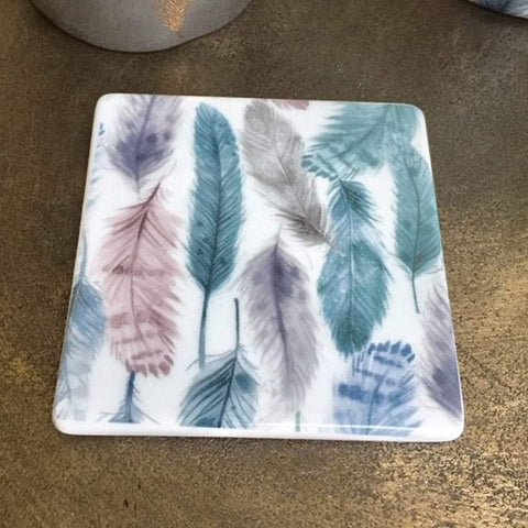 Feathers Ceramic Square Coaster - insideout-home