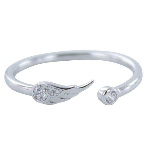 Sterling Silver Angel Wing Pavé Ring - insideout-home