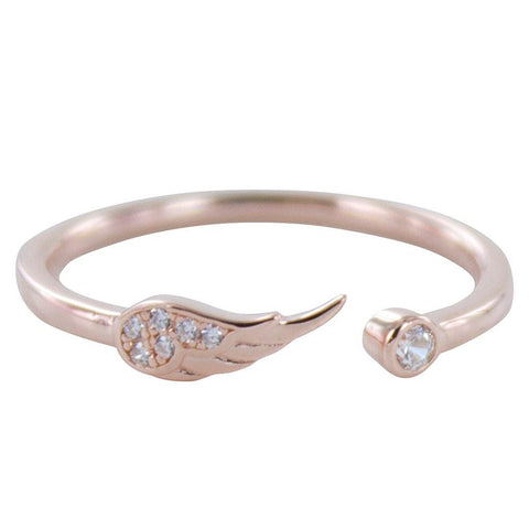 Rose Vermeil Angel Wing Pavé Ring - insideout-home
