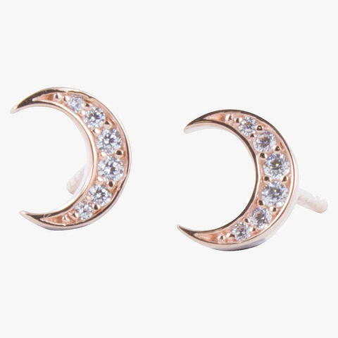 Moon Pavé Rose Vermeil Stud Earrings - insideout-home