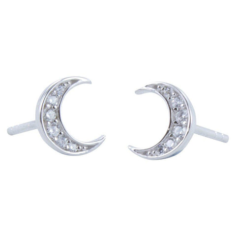 Moon Pavé Sterling Silver Stud Earrings - insideout-home