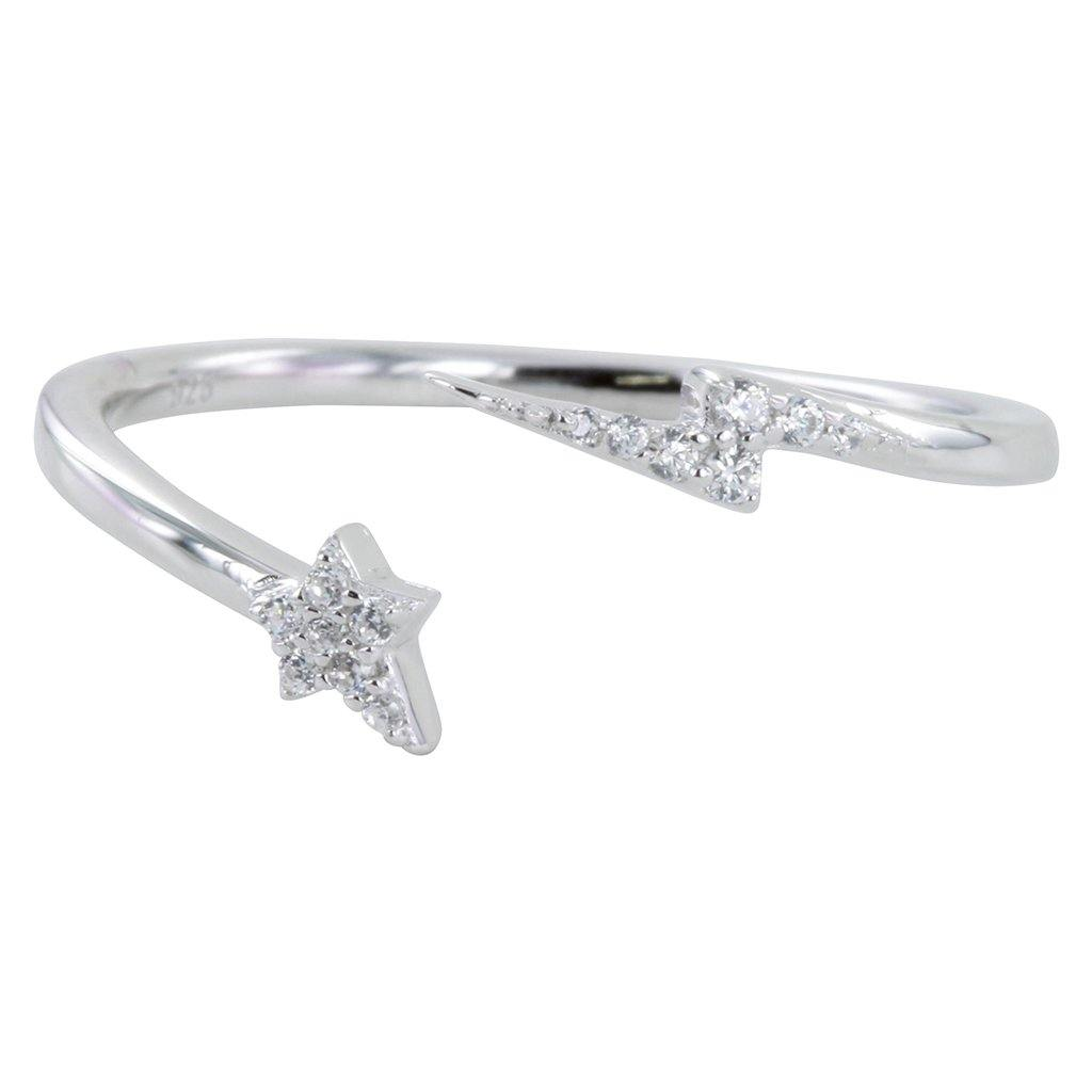 Sterling Silver Lightning And Star Pavé Ring by  Insideout