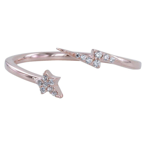 Rose Vermeil Lightning And Star Pavé Ring - insideout-home