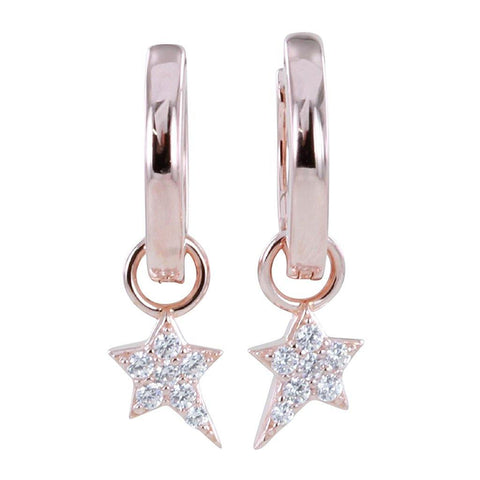 Rose Gold Starry Night Pavé Hoop Earrings - insideout-home