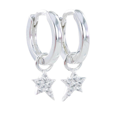 Sterling Silver Starry Night Pavé Hoop Earrings - insideout-home