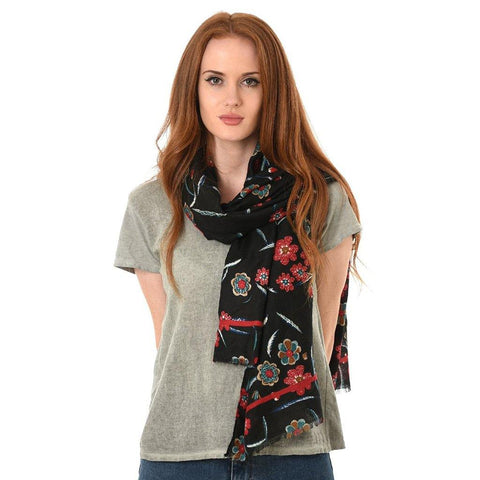 Autumnal Floral Print Scarf Reds - insideout-home