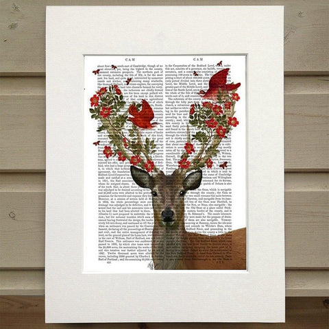 Deer And Love Birds Print - insideout-home