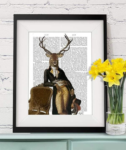 Deer And Chair Print - insideout-home