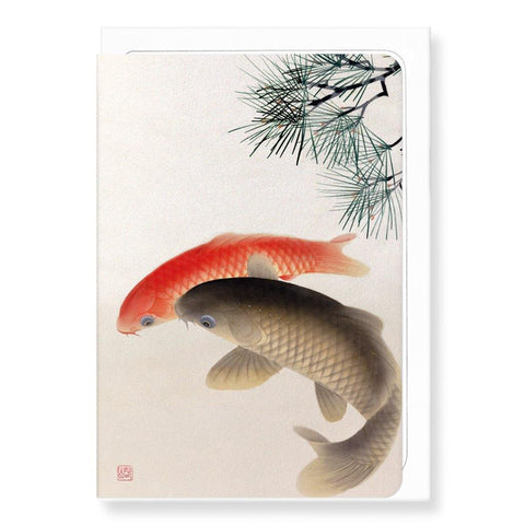 Carps And Pine By Koson Card - insideout-home