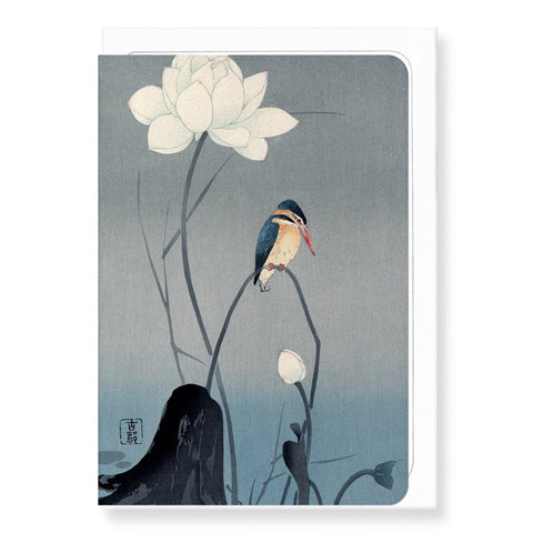 Kingfisher And Lotus By Koson Card - insideout-home