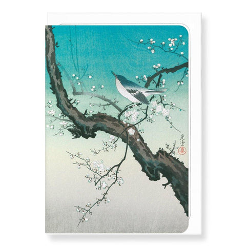 Bush Warbler And Plum Blossoms Card - insideout-home