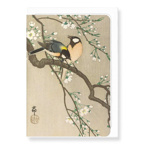 Tit Birds On Cherry Branch By Koson Card - insideout-home