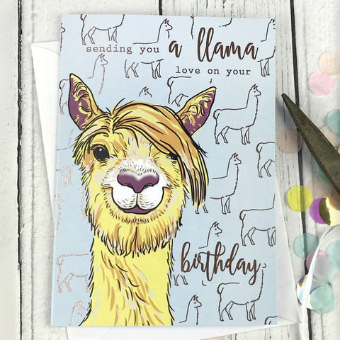 Sending you a llama love on your birthday card