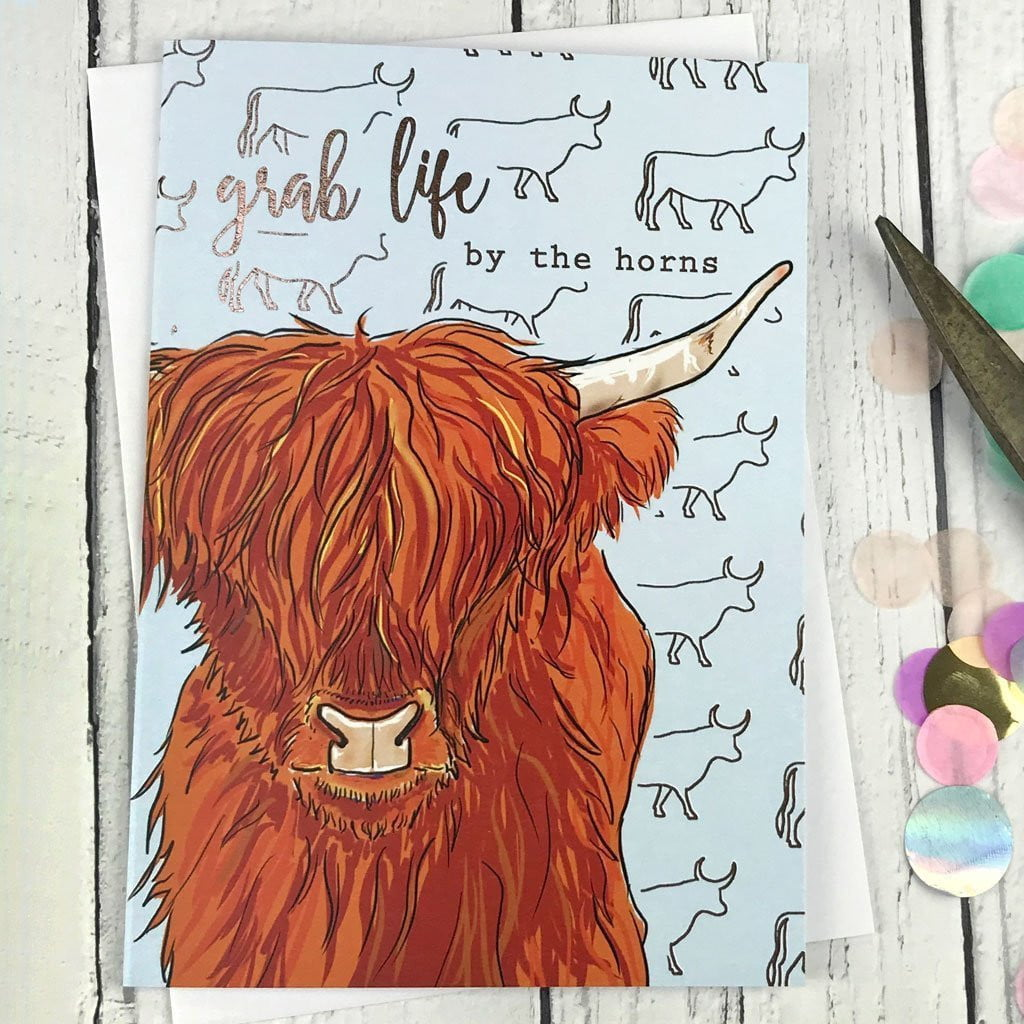 FA11 Grab life by the horns card, Greeting & Note Cards by Insideout