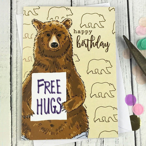 FA29 Happy birthday free hugs card - insideout-home