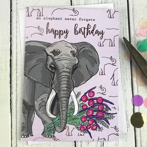 FA33 An elephant never forgets happy birthday card - insideout-home