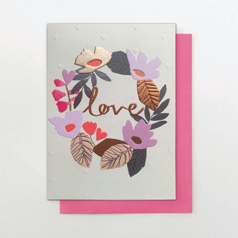 Love Floral Wreath Card - Insideout