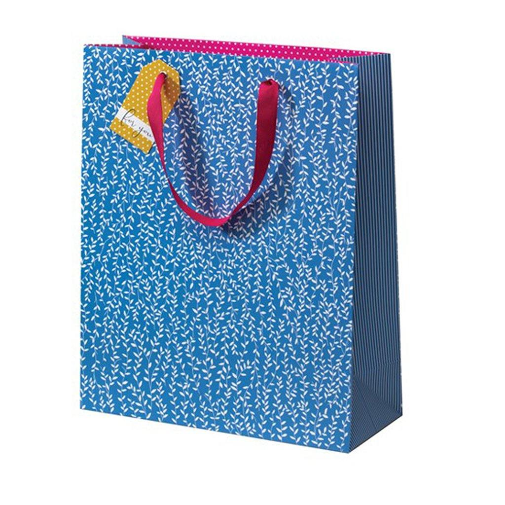 Cherry Blossom Blue Willlow Gift Bag Large, Gift Wrapping by Insideout