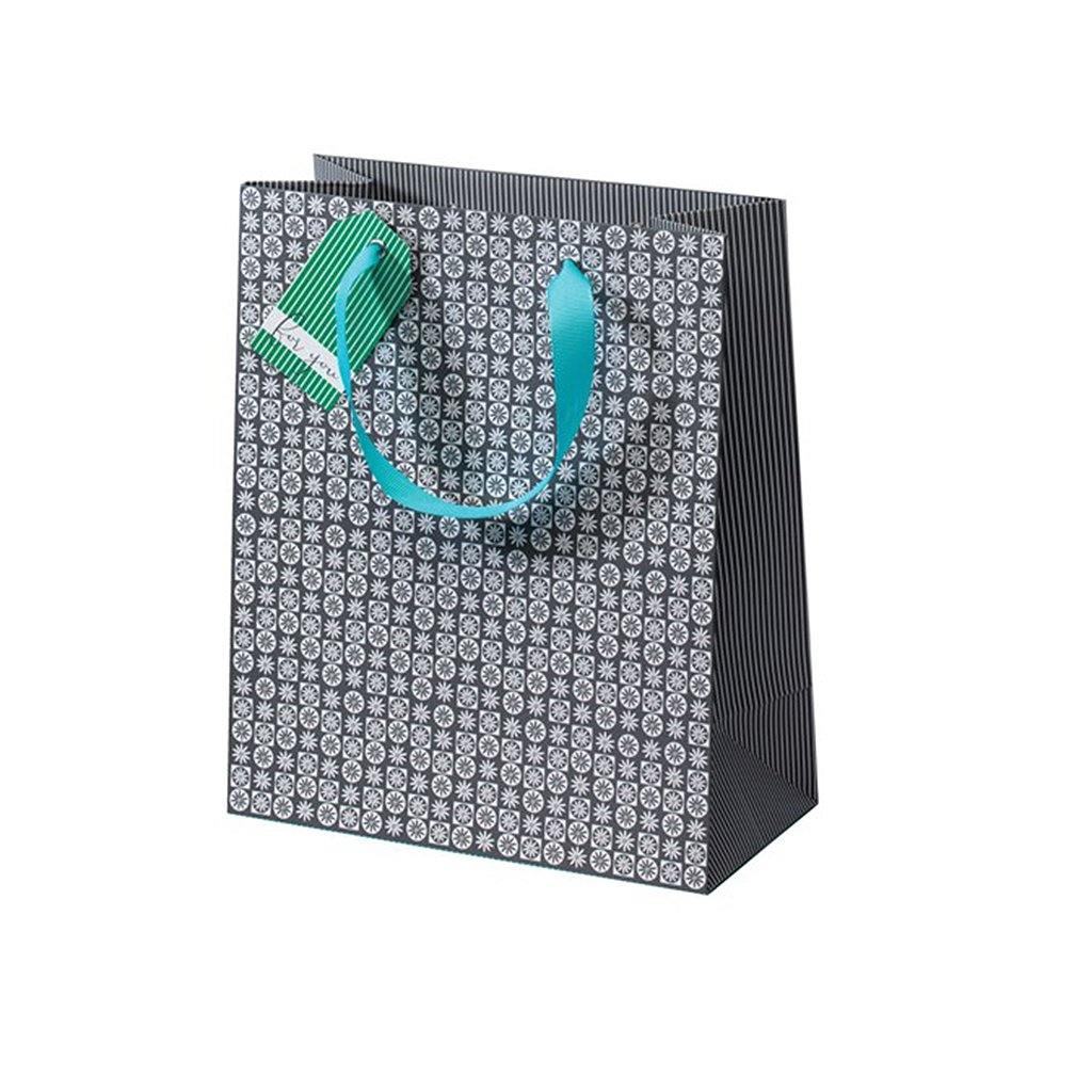 Cherry Blossom Grey Mosaic Medium Gift Bag, Gift Wrapping by Insideout