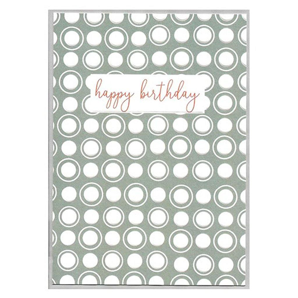 Happy Birthday Card Grey Spots, Greeting & Note Cards by Insideout