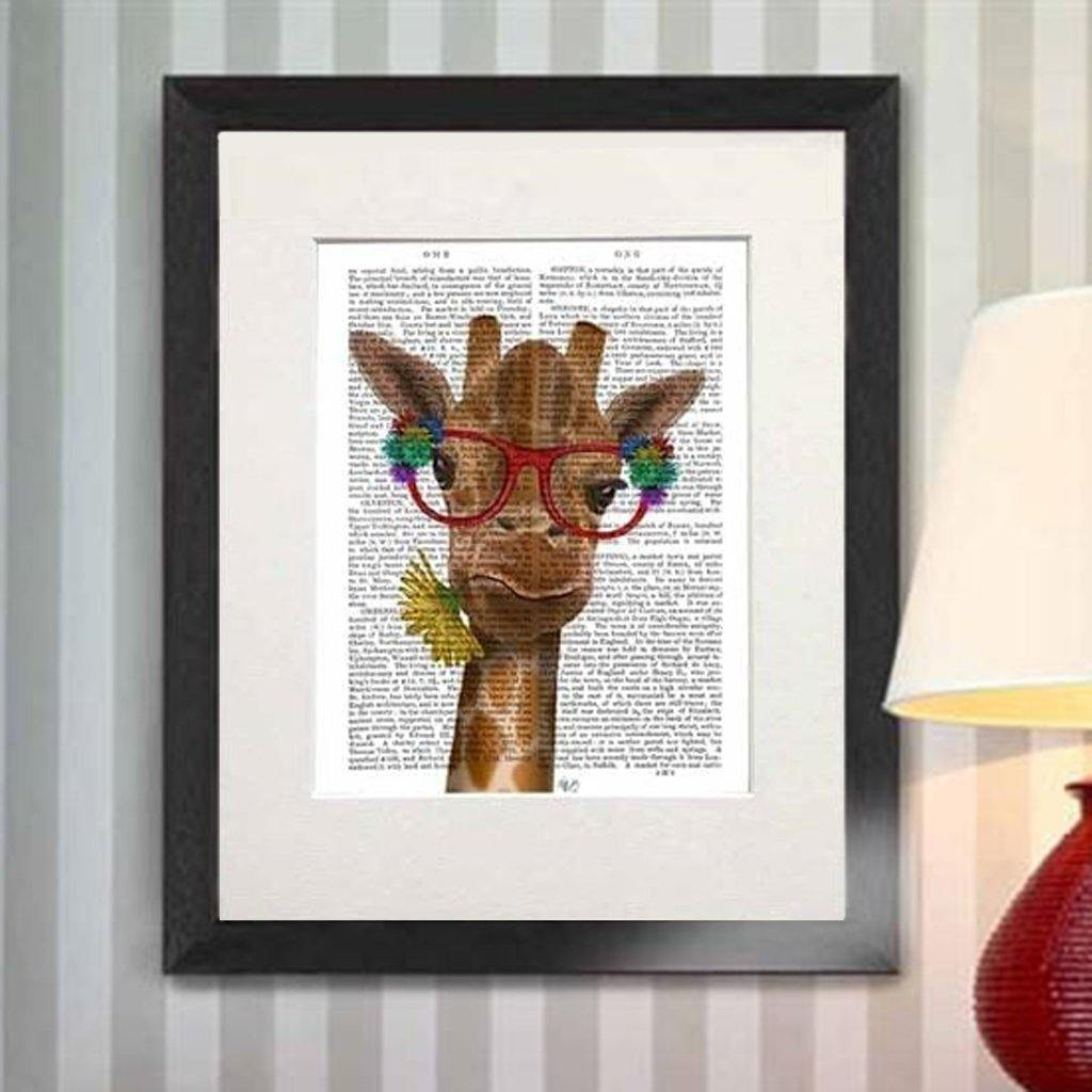 Giraffe With Flower Glasses Print by  Insideout