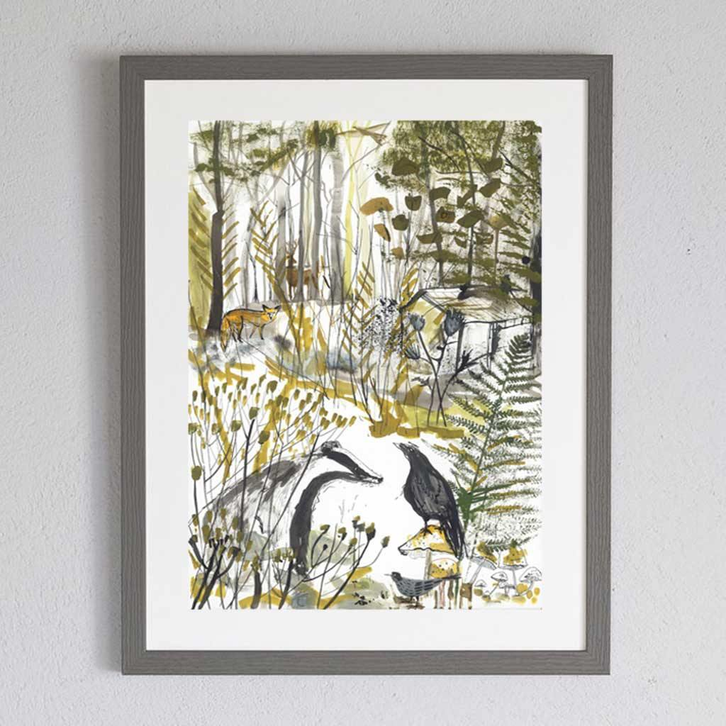 The Badger and The Crow Print by  Insideout