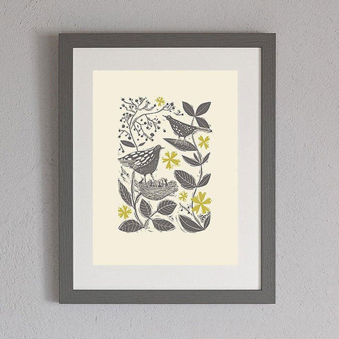 Blackbirds In The Hedgerow Print - insideout-home