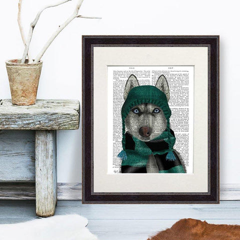 Husky In Hat And Scarf Print - insideout-home