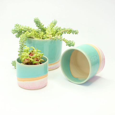 Handmade Ceramic Planters With Turquoise And Pink Glaze - insideout-home