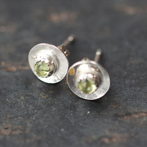 Silver Boho Peridot Disc Stud Earrings - insideout-home