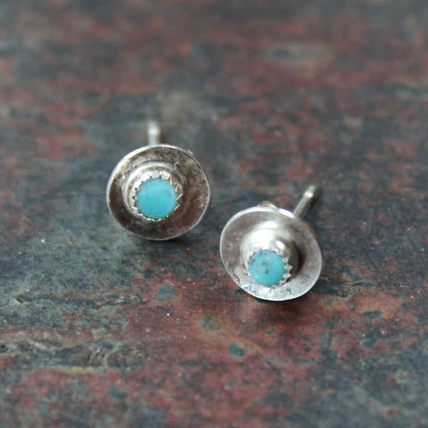 Silver Boho Turquoise Disc Stud Earrings - insideout-home