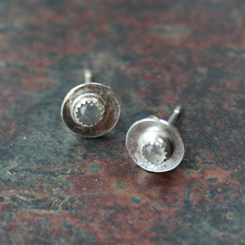 Silver Boho Laboradite Disc Stud Earrings - insideout-home