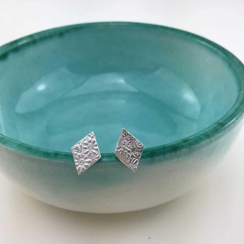 Silver Textured Diamond Studs - insideout-home