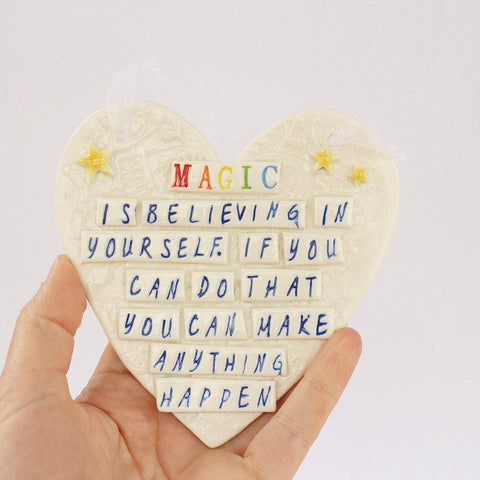 Porcelain Hanging Heart Plaque Magic - insideout-home
